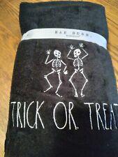 "RAE DUNN Set of 2  Hand Towels ""TRICK OR TREAT "" Skeletons/Halloween!"