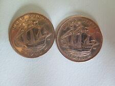 Lot of 2 1943 Great Britain UK Georgivs VI Half Penny Coins UNC (#105)