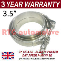 "V-BAND CLAMP + FLANGES COMPLETE STAINLESS STEEL EXHAUST TURBO HOSE 3.5"" 89mm"