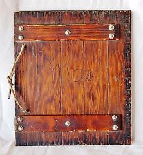 Beautiful Antique Wood Photo Album Hand Riveted Leather Binding, Personalized