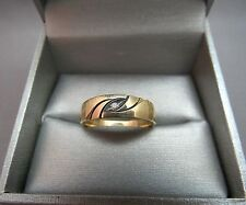14K Yellow Gold Mens Diamond Ring Art Deco SZ 10.25 Band 4.3g Enamel Textured