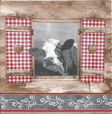 Lote de 4 Toallas papel Vaca de los Alpes Recorte Collage Decopatch