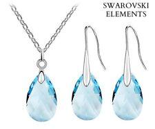 collier boucles pendentif goutte d'eau Swarovski® Elements bleu plaqué or blanc