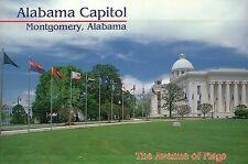 Alabama Capitol, Montgomery, AL, The Avenue of Flags, 50 State Flags -- Postcard