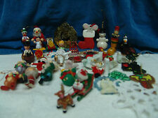 VNTG LOT OF 40+ WOODEN CHRISTMAS ORNAMENTS  MAY DIFFRENT FIGURES FREE SHIPPING