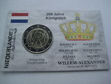 """2 Euro Gedenkmünze Niederlande 2013 """"200 Jahre Königreich"""" Coincard/InfoKarte"""