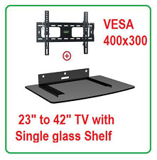 Low Profile LCD LED TV Tilt Wall Mount 22-42 with Single Glass shelf DVD 952T44