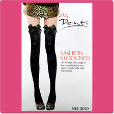 Black sheer Thigh High Stocking with Rhinestones and Bow B52