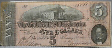5 Five Dollars Confederate note February 17th 1864 Richmond see quality photos