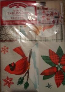"""HOLIDAY TIME FLANNEL BACK VINYL TABLECLOTH 52 X 70"""" Patchwork Cardinal Bear Tree"""
