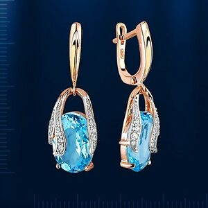 Rose gold dangling blau topaz CZ earrings solid gold 585 /14ct  NWT oval stone