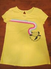 Girls size 12, yellow short sleeve shirt, Justice brand, EUC