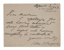 John Singer Sargent Autograph Letter/Card (1923) - Authentic!