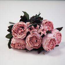 Artificial Suede Peony Flower Bouquet (NO.6) 4Colours Wedding Centrepiece Decor