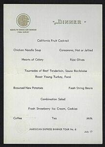 Atchison Topeka & Santa Fe; Dining Car Menu Fred Harvey Service Mid Century ATSF