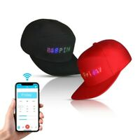 USB LED Display DJ Cap Hat Screen Light Wireless Bluetooth APP Control Party USA