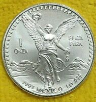 1993 1 oz Silver Libertad 1 Onza Plata Pura BU Coin! From New Roll ! Mexico Mint