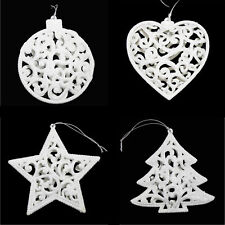 Set 4 Glitter Christmas Tree Hanging Decorations- Bauble Heart Star Tree - White