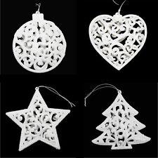 Set 4 Pailleté Sapin de Noël pendant Decorations- Boule Cœur Étoile Arbre -