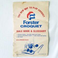 Vintage Forster Croquet Rule Book