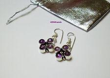 Charmante Paire Boucles Oreille ARGENT 925 AMETHYSTE Violette