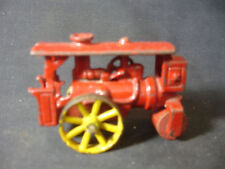 Old Vtg Cast Iron Red Steam Roller Construction Toy With Wood Roller