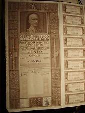 DEBITO PUBLICO DEL REGNO D' ITALIA PRESTITO REDIMIBILE 5 PER CENTO ROMA 1-1-37