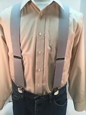 """New, Men's, Light Gray, XL, 2"""", Twin Pin Clip, Suspenders, Made in the USA"""