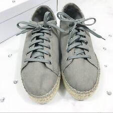 "Steve Madden Size 10M Gray Canvas 1.75"" Platform Espadrille Sneakers ""EDMUND"""