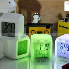 7 LED Color Changing Glow Alarm Clock Bedroom Digital Termometer Display