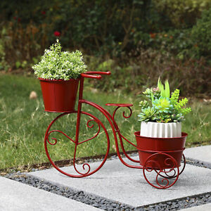 """Glitzhome 21.5""""L Metal Red Bicycle Planter Stand Home Plant Display Garden Decor"""