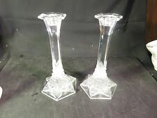 "Lovely Pair Val St Lambert 9"" Candlesticks Frosted Floral Motif"