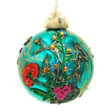 Palla Albero di Natale Shabby Chic Vetro Floral Collection Colore Turchese Diame