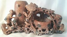 CARVED SOAPSTONE TRIPLE BRUSH / WATER POT
