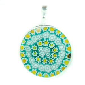 Murano Glass Pendant Green Yellow White Millefiori Sterling Silver Circular 26mm