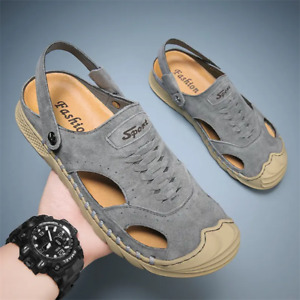 Men Outdoor Breathable Leather Slippers Sandals Soft Flat Casual Summer Shoes