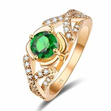 New Fashion 2018 Gold Plated Silver Ring Emerald & White Topaz Gems Jewelry Gift