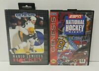 ESPN + Mario Lemieux - Sega Genesis Games - Working - 2 NHL Hockey Games Lot  !