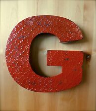 Industrial Red Metal Wall Letter G 20 Tall Rustic Vintage Decor Antique Sign