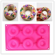 Silicone 6 Donut Doughnut Cake Mould Chocolate Soap Candy Mold Baking Pan US