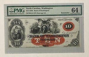 1850s Bank of Washington North Carolina $10 PMG 64 Choice Uncirculated