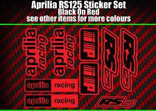 APRILIA RS125 Calcomanías Pegatinas Rojo Y Negro IP de carreras RS 125, 9 piezas