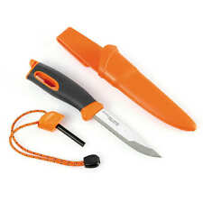 LIGHT MY FIRE Orange Swedish Fireknife w/ Fire Starter & Sheath - Free Shipping