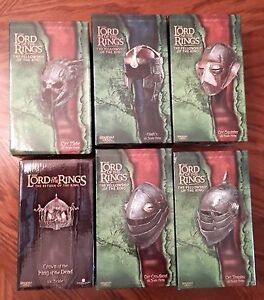 Sideshow LOTR Set of 6 1/4 Helmets GIMLI, ORC, KING of DEAD MIP Never Displayed
