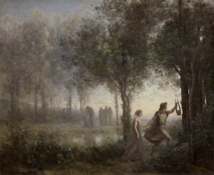 Jean Baptiste Camille Corot Orpheus Leading Eurydice from Giclee Canvas Print
