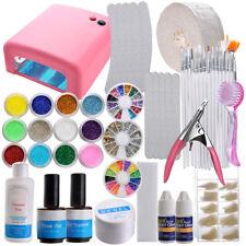 36w Lamp Light Cure UV GEL Polish Glitter Nail Art Tip Dust File Buffer Kits Set