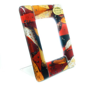 Murano Glass Photo Frame Red Orange and White From Venice Unique 11cm x 8.5cm