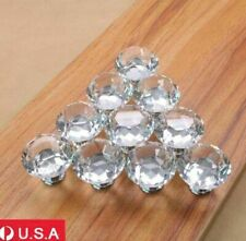 10x 30mm Diamond Shape Crystal Acrylic Glass Drawer Cabinet Pull Handle Knobs US
