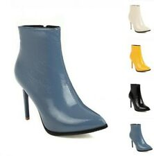 Womens Sexy Fashion Pointed Stiletto High Heel Patent Leather Ankle Boots Club D