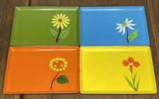 Vintage Lacquer Ware Trays by Davar 1965 set of 4 Flowers Japan MCM
